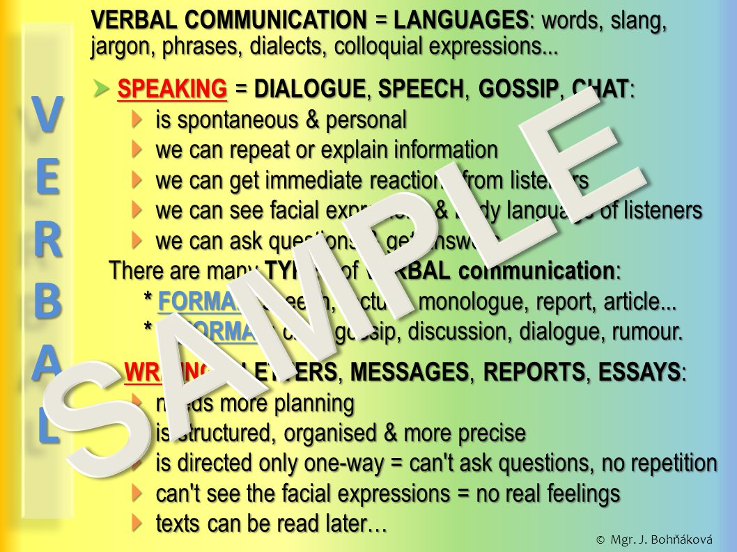 VERBAL COMMUNICATION = LANGUAGES : words, slang, jargon, phrases, dialects, colloquial expressions...
