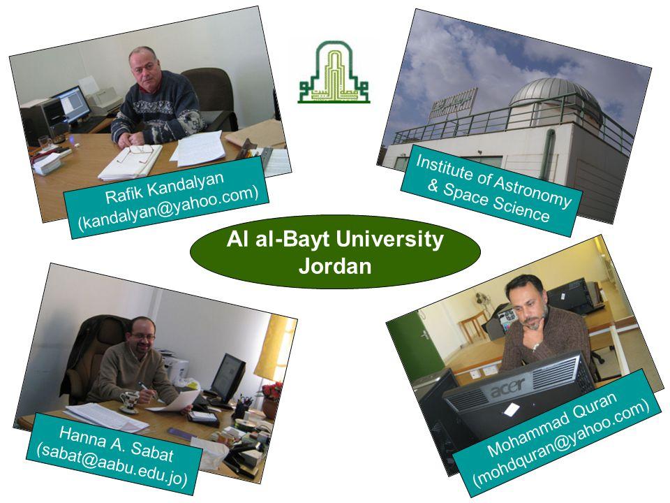 Rafik Kandalyan (kandalyan@yahoo.com) Hanna A. Sabat (sabat@aabu.edu.jo) Mohammad Quran (mohdquran@yahoo.com) Al al-Bayt University Jordan Institute o