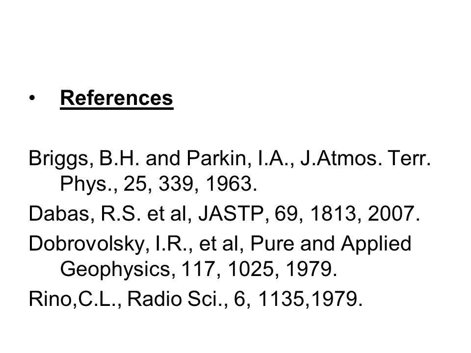 References Briggs, B.H. and Parkin, I.A., J.Atmos. Terr. Phys., 25, 339, 1963. Dabas, R.S. et al, JASTP, 69, 1813, 2007. Dobrovolsky, I.R., et al, Pur