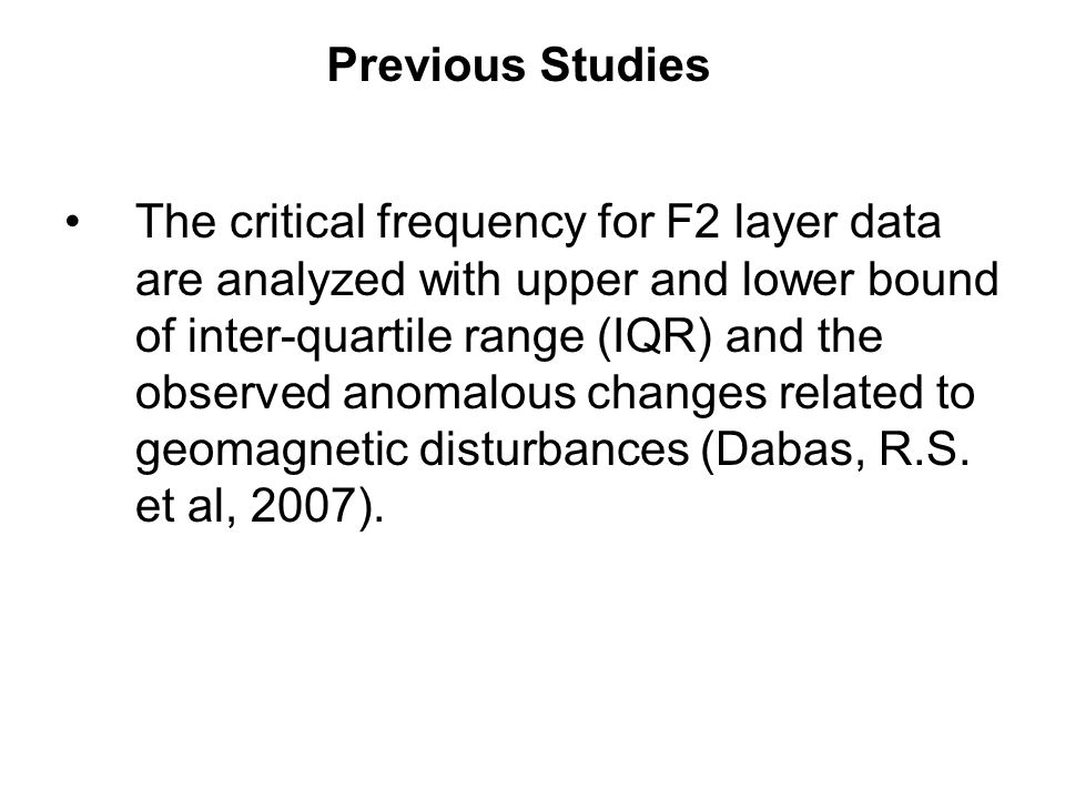 The critical frequency for F2 layer data are analyzed with upper and lower bound of inter-quartile range (IQR) and the observed anomalous changes rela