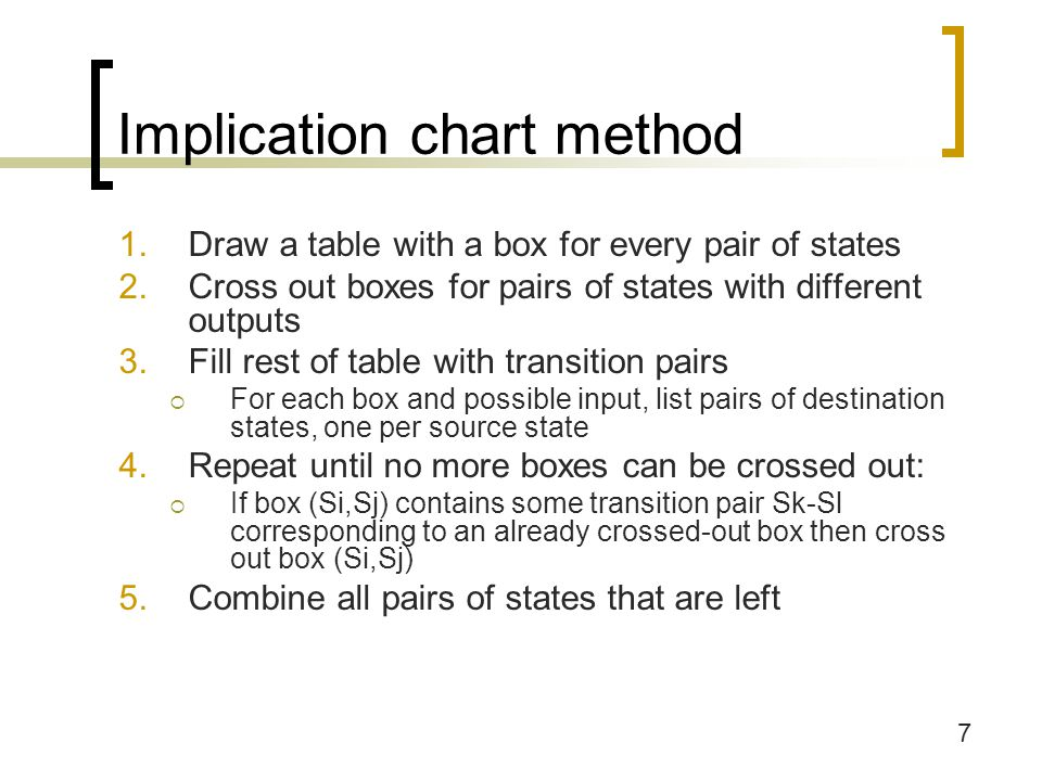 8 Step 1: Draw table of state pairs