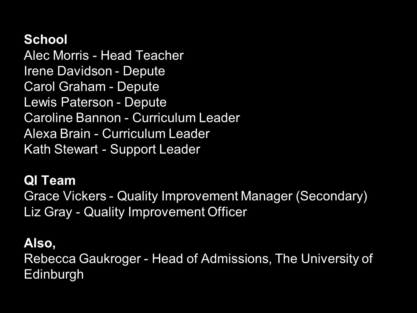 Curriculum for Excellence Commitment made by Principals of Scotland's universities and colleges: …continue to be committed to fair admissions policies and that these will allow for the equal consideration of candidates who possess the necessary knowledge and skills base irrespective of what routes they may have taken through the Senior Phase (S4 to S6) of Curriculum for Excellence. 'Beyond the Senior Phase', Universities Scotland, 2012