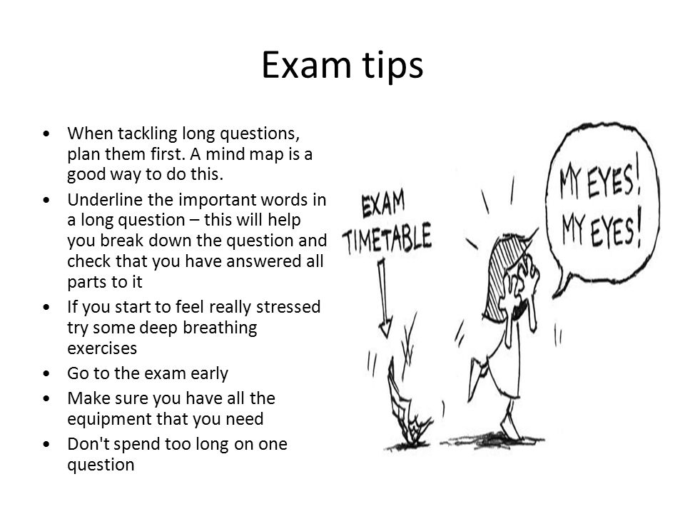 Exam tips When tackling long questions, plan them first. A mind map is a good way to do this. Underline the important words in a long question – this