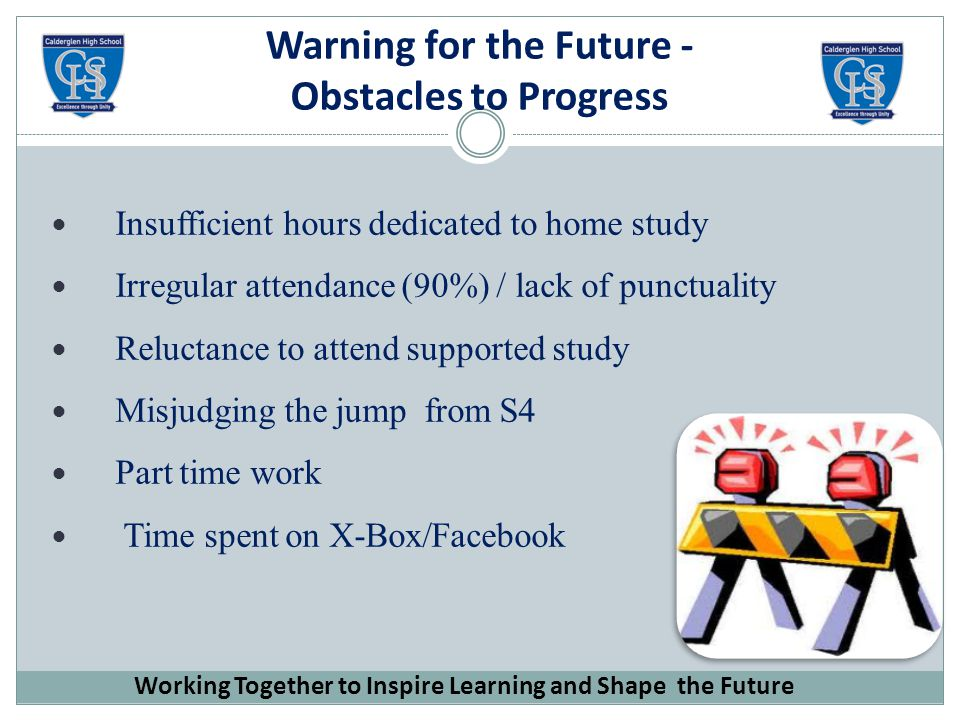 Warning for the Future - Obstacles to Progress Insufficient hours dedicated to home study Irregular attendance (90%) / lack of punctuality Reluctance to attend supported study Misjudging the jump from S4 Part time work Time spent on X-Box/Facebook Working Together to Inspire Learning and Shape the Future
