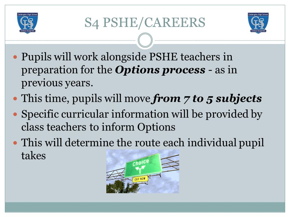 S4 PSHE/CAREERS Pupils will work alongside PSHE teachers in preparation for the Options process - as in previous years.