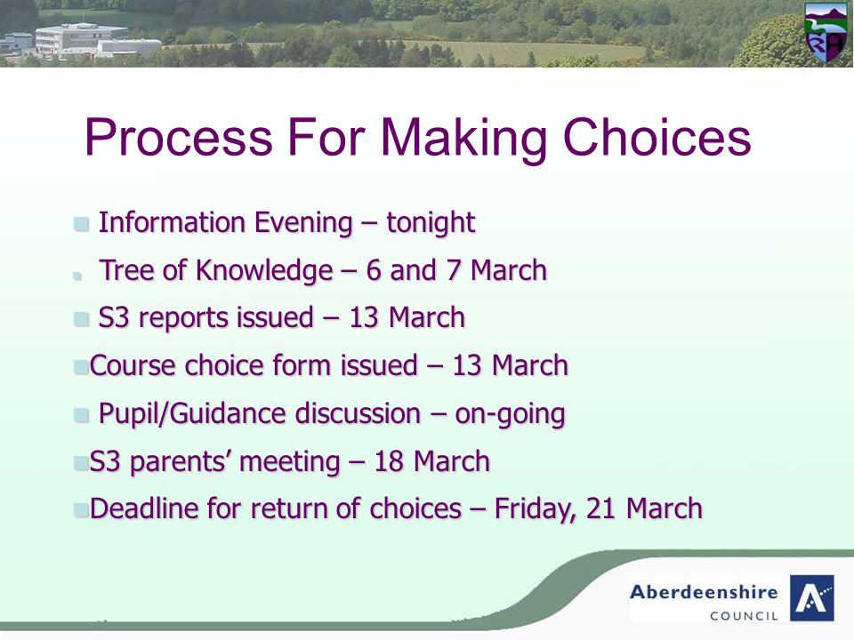 Process For Making Choices Information Evening – tonight Information Evening – tonight Tree of Knowledge – 6 and 7 March Tree of Knowledge – 6 and 7 March S3 reports issued – 13 March S3 reports issued – 13 March Course choice form issued – 13 March Course choice form issued – 13 March Pupil/Guidance discussion – on-going Pupil/Guidance discussion – on-going S3 parents' meeting – 18 March S3 parents' meeting – 18 March Deadline for return of choices – Friday, 21 March Deadline for return of choices – Friday, 21 March