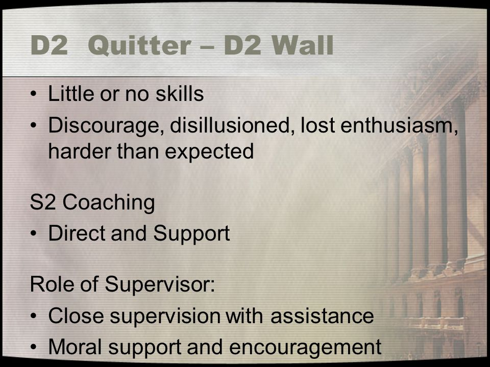 D2 Quitter – D2 Wall Little or no skills Discourage, disillusioned, lost enthusiasm, harder than expected S2 Coaching Direct and Support Role of Supervisor: Close supervision with assistance Moral support and encouragement