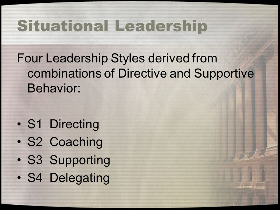 Situational Leadership Four Leadership Styles derived from combinations of Directive and Supportive Behavior: S1 Directing S2 Coaching S3 Supporting S4 Delegating