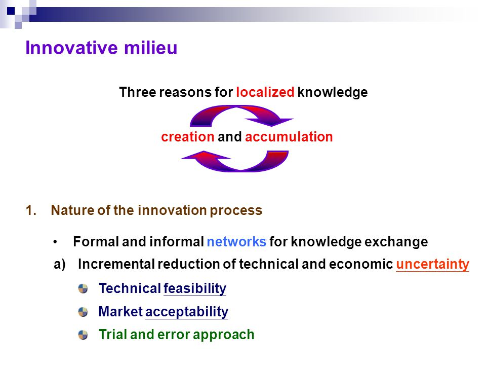 Three reasons for localized knowledge 1.Nature of the innovation process a)Incremental reduction of technical and economic uncertainty Technical feasibility Market acceptability creation and accumulation Formal and informal networks for knowledge exchange Trial and error approach Innovative milieu