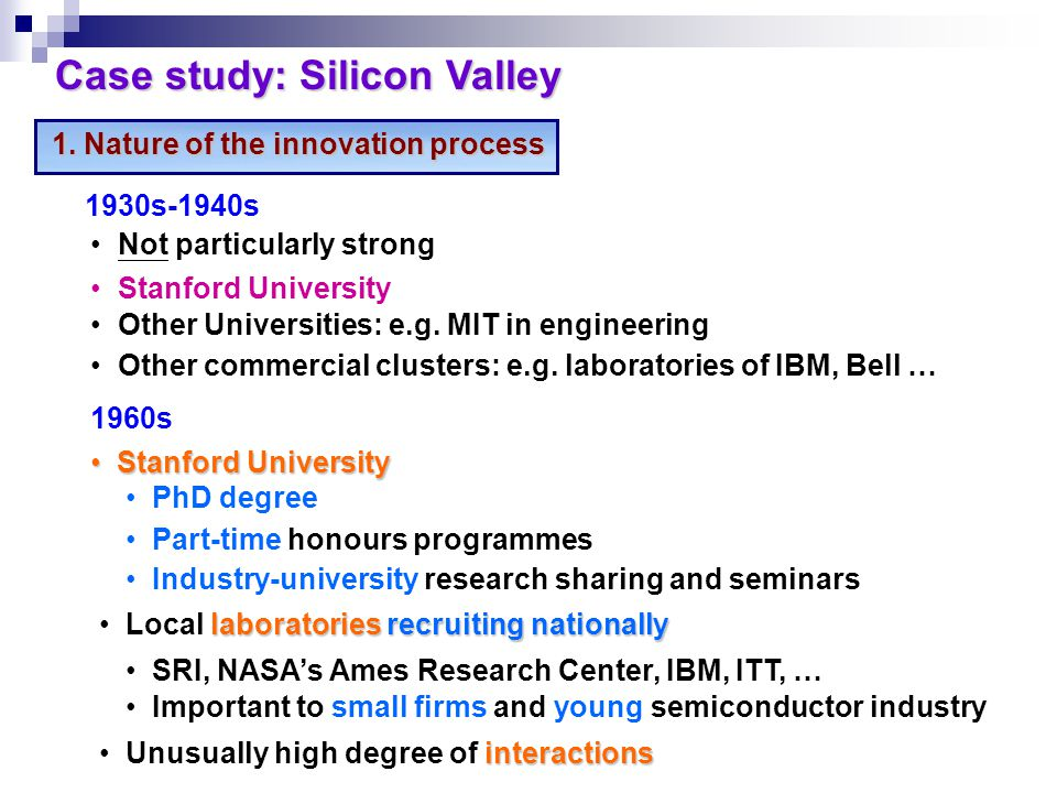 1.Nature of the innovation process Case study: Silicon Valley 1930s-1940s Not particularly strong Stanford University Other Universities: e.g.