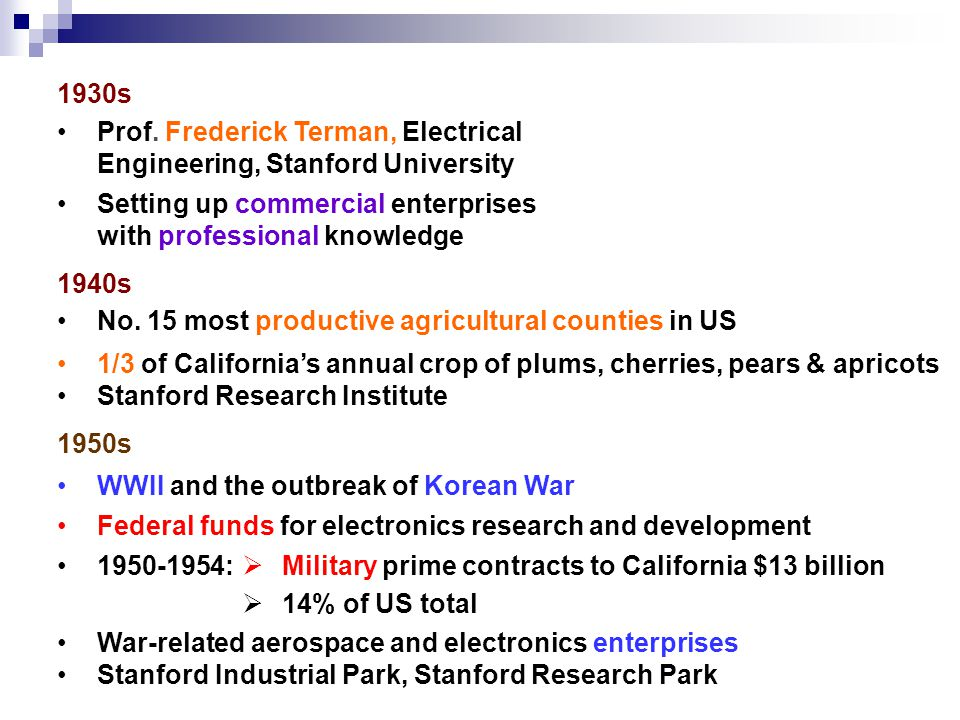 1930s Prof. Frederick Terman, Electrical Engineering, Stanford University Setting up commercial enterprises with professional knowledge 1940s No. 15 m