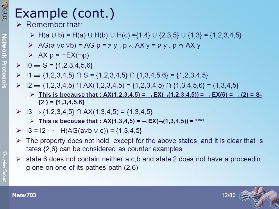 Dr. Amr Talaat Netw 703 Network Protocols Example (cont.)  Remember that:  H(a ∪ b) = H(a) ∪ H(b) ∪ H(c) ={1,4} ∪ {2,3,5} ∪ {1,3} = {1,2,3,4,5}  AG