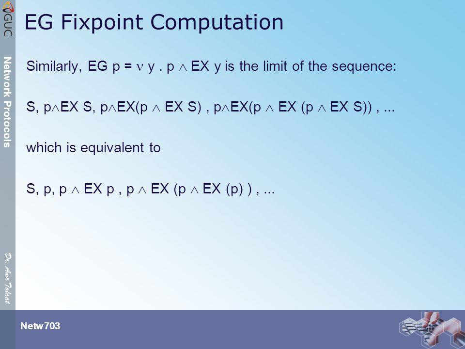 Dr. Amr Talaat Netw 703 Network Protocols EG Fixpoint Computation Similarly, EG p = y.