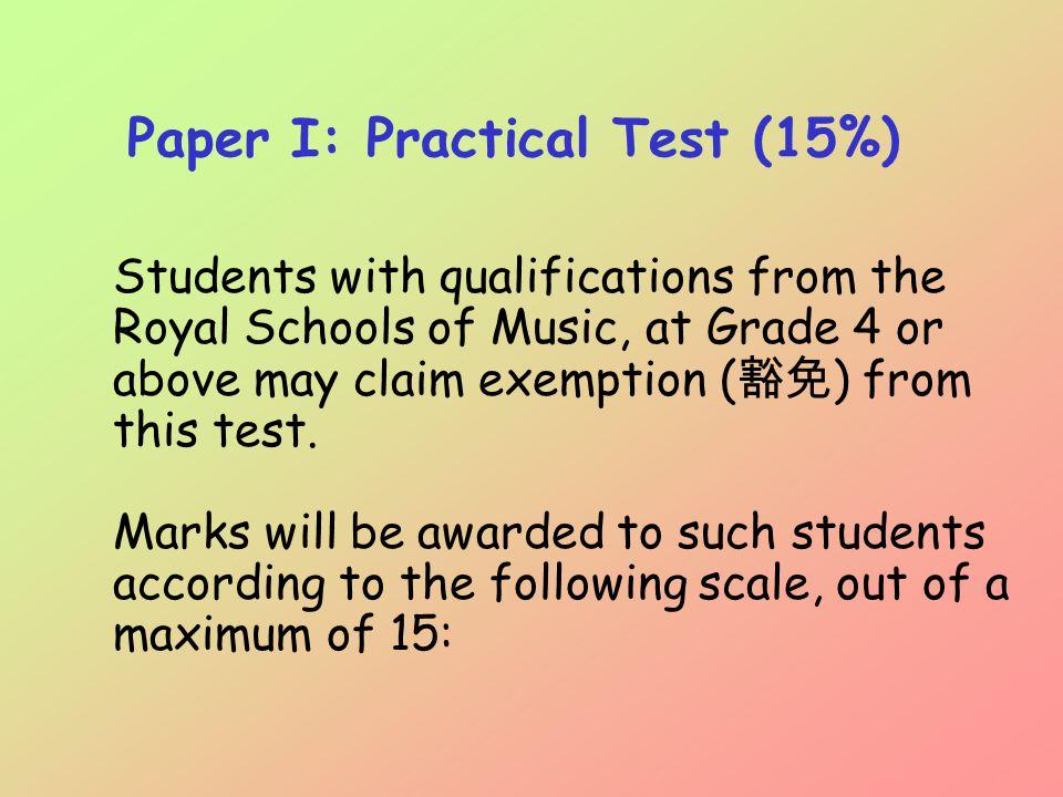 Grade (Royal Schools of Music) Grade (Royal Conservatory of Toronto – Canada) Marks awarded 5 (Pass, Merit & Distinction) 4 (Pass, Merit & Distinction) 8 6 (Pass, Merit & Distinction) 5 (Pass, Merit & Distinction) 9 7 (Pass & Merit)6 (Pass & Merit)10 7 (Distinction)6 (Distinction)11 8 (Pass & Merit)7 (Pass & Merit)12 8 (Distinction)7 (Distinction)13 9 (Pass & Merit)8 (Pass & Merit)14 9 (Distinction or above)8 (Distinction or above)15