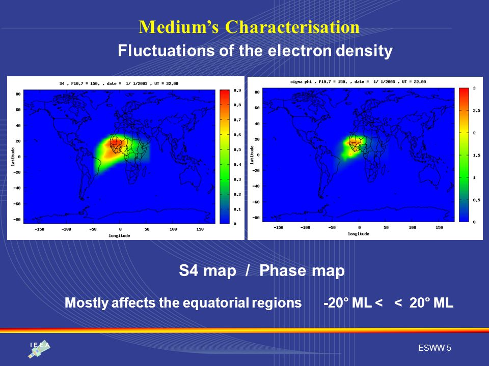 ESWW 5 Medium's Characterisation S4 map / Phase map Fluctuations of the electron density Mostly affects the equatorial regions -20° ML < < 20° ML