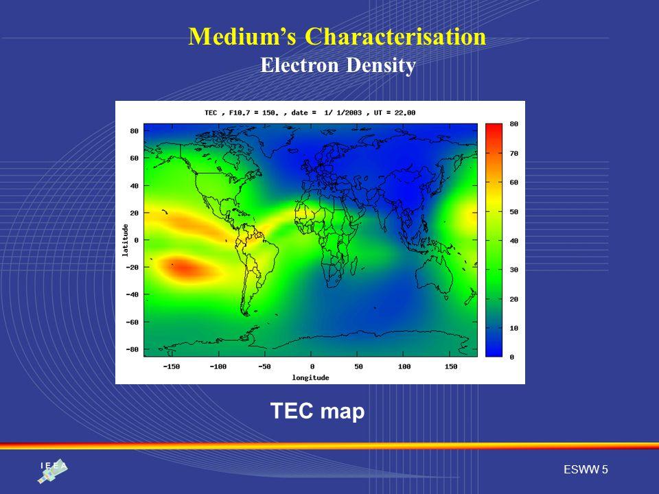 ESWW 5 Medium's Characterisation Electron Density TEC map