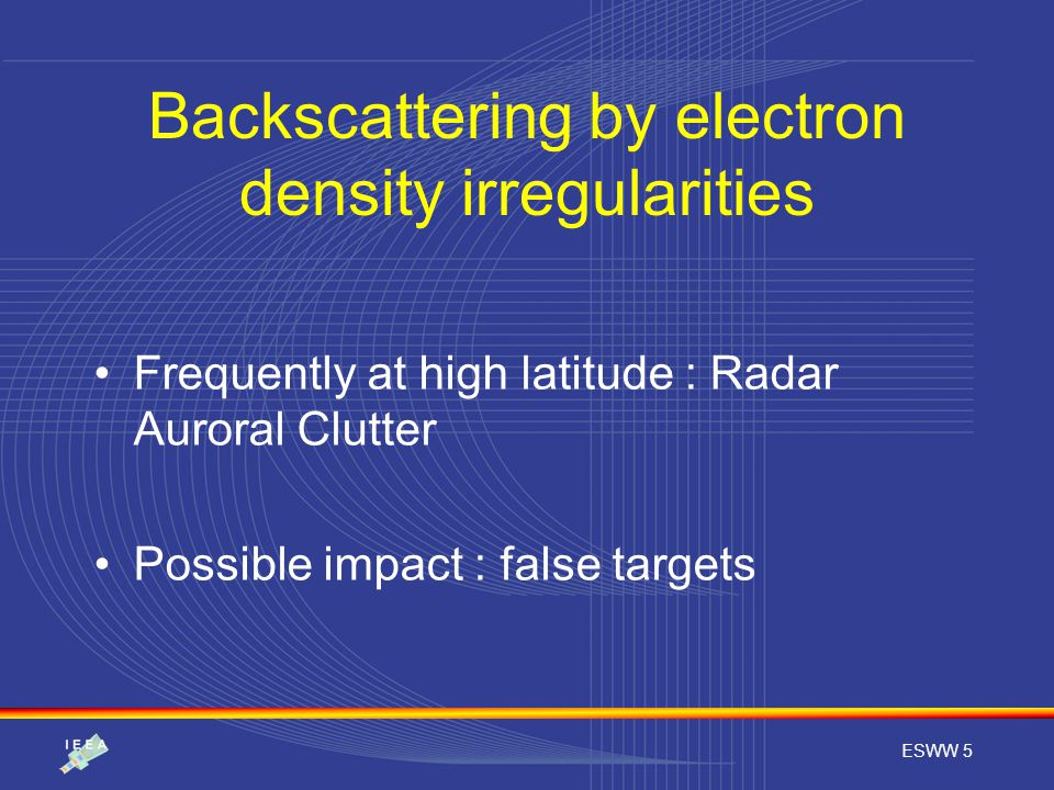 ESWW 5 Backscattering by electron density irregularities Frequently at high latitude : Radar Auroral Clutter Possible impact : false targets