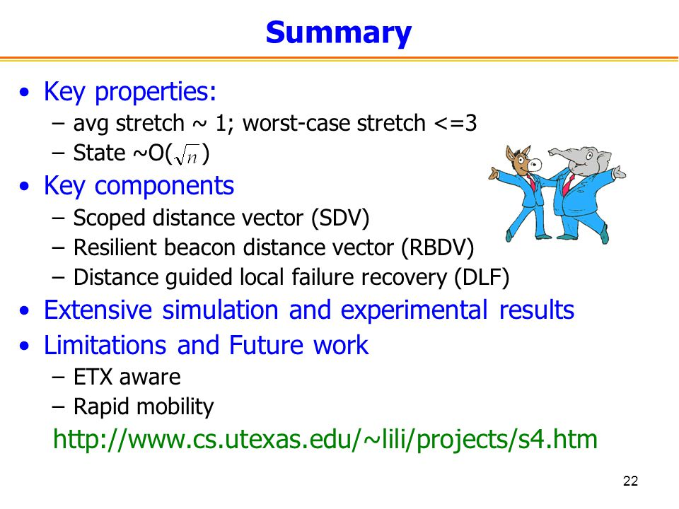 22 Summary Key properties: –avg stretch ~ 1; worst-case stretch <=3 –State ~O( ) Key components –Scoped distance vector (SDV) –Resilient beacon distance vector (RBDV) –Distance guided local failure recovery (DLF) Extensive simulation and experimental results Limitations and Future work –ETX aware –Rapid mobility http://www.cs.utexas.edu/~lili/projects/s4.htm