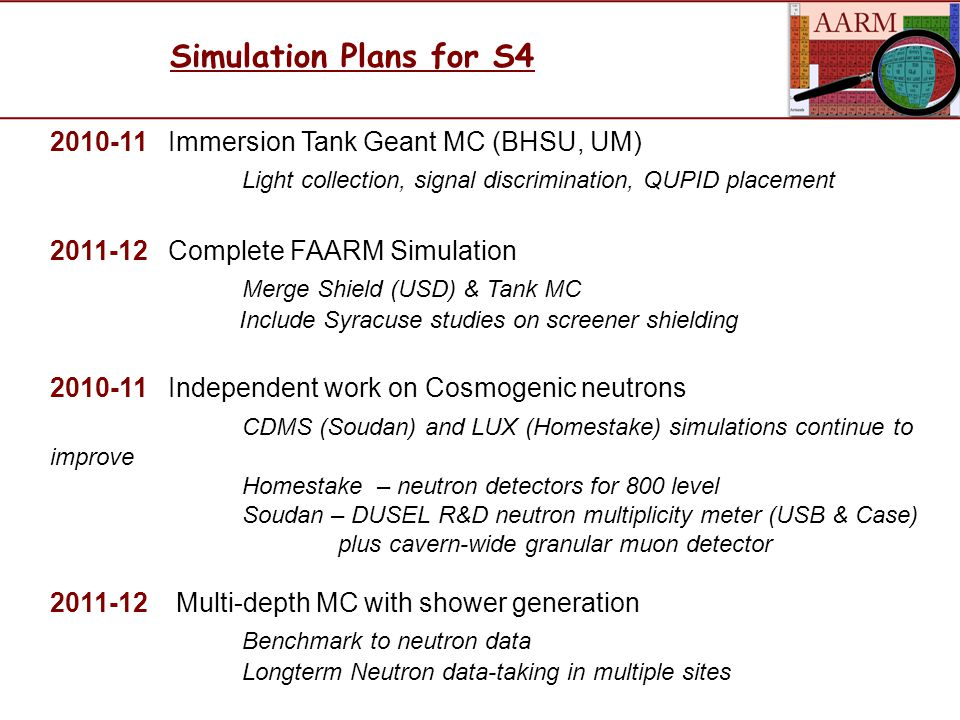 Simulation Plans for S4 2010-11 Immersion Tank Geant MC (BHSU, UM) Light collection, signal discrimination, QUPID placement 2011-12 Complete FAARM Simulation Merge Shield (USD) & Tank MC Include Syracuse studies on screener shielding 2010-11 Independent work on Cosmogenic neutrons CDMS (Soudan) and LUX (Homestake) simulations continue to improve Homestake – neutron detectors for 800 level Soudan – DUSEL R&D neutron multiplicity meter (USB & Case) plus cavern-wide granular muon detector 2011-12 Multi-depth MC with shower generation Benchmark to neutron data Longterm Neutron data-taking in multiple sites