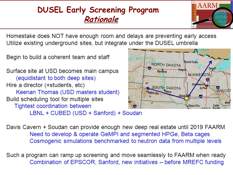 DUSEL Early Screening Program Rationale Homestake does NOT have enough room and delays are preventing early access Utilize existing underground sites, but integrate under the DUSEL umbrella Begin to build a coherent team and staff Surface site at USD becomes main campus (equidistant to both deep sites) Hire a director (+students, etc) Keenan Thomas (USD masters student) Build scheduling tool for multiple sites Tightest coordination between LBNL + CUBED (USD + Sanford) + Soudan Davis Cavern + Soudan can provide enough new deep real estate until 2019 FAARM Need to develop & operate GeMPI and segmented HPGe, Beta cages Cosmogenic simulations benchmarked to neutron data from multiple levels Such a program can ramp up screening and move seamlessly to FAARM when ready Combination of EPSCOR, Sanford, new initiatives – before MREFC funding