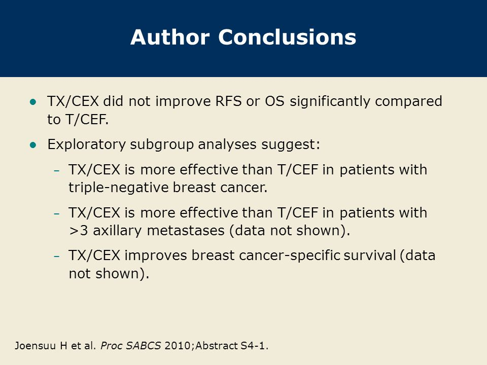 Author Conclusions TX/CEX did not improve RFS or OS significantly compared to T/CEF.