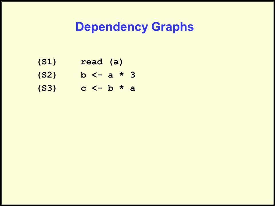 (S1)read (a) (S2)b <- a * 3 (S3)c <- b * a Dependency Graphs