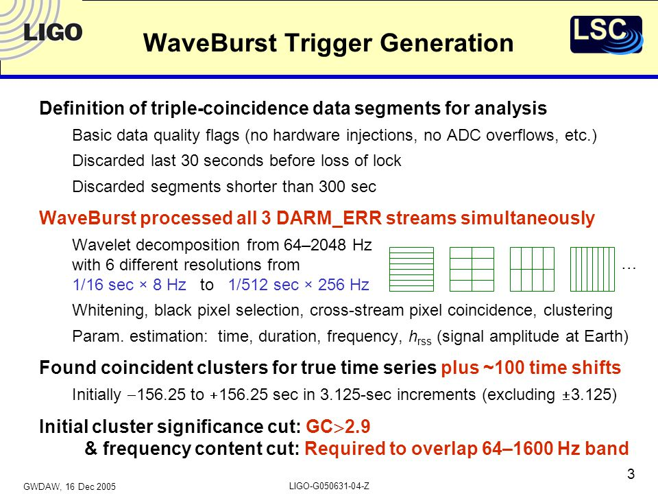 GWDAW, 16 Dec 2005 LIGO-G050631-04-Z 4 H1/H2 Amplitude Cut Based on calibrated h rss estimated by WaveBurst Require 0.5  (H1/H2)  2 S4 data triggersSine-Gaussians (Q={3,8.9}, 70–1053 Hz) 0.5% of these simulated signals fail amplitude cut
