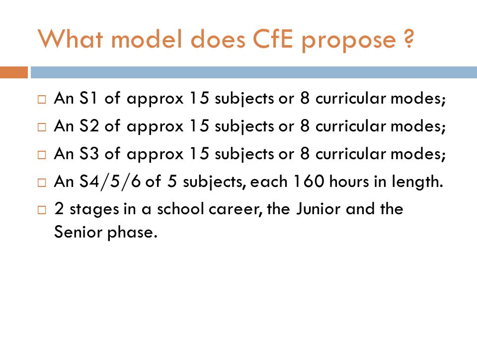 What model does CfE propose .