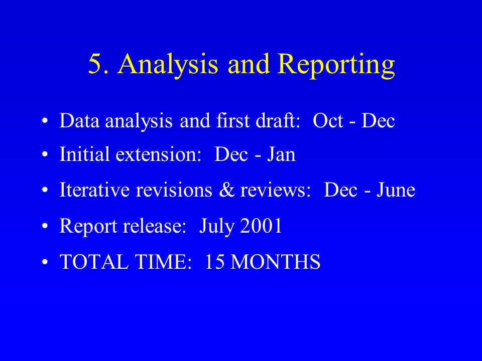 5. Analysis and Reporting Data analysis and first draft: Oct - Dec Initial extension: Dec - Jan Iterative revisions & reviews: Dec - June Report relea