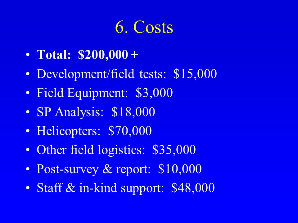 6. Costs Total: $200,000 + Development/field tests: $15,000 Field Equipment: $3,000 SP Analysis: $18,000 Helicopters: $70,000 Other field logistics: $