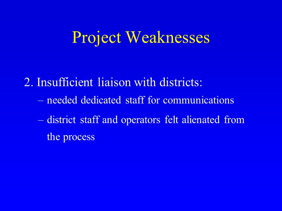 Project Weaknesses 2.