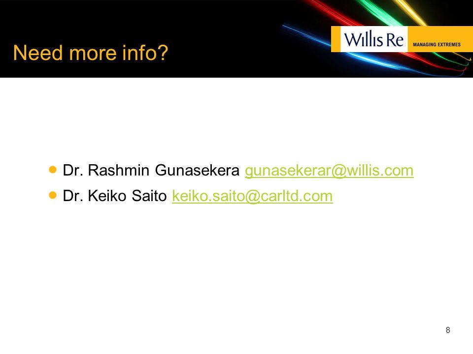 Need more info.  Dr. Rashmin Gunasekera gunasekerar@willis.comgunasekerar@willis.com  Dr.
