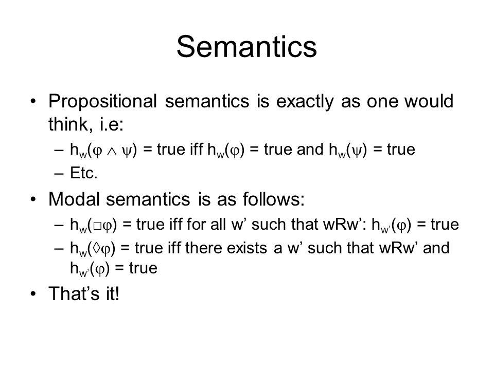 Semantics Propositional semantics is exactly as one would think, i.e: –h w (    ) = true iff h w (  ) = true and h w (  ) = true –Etc.
