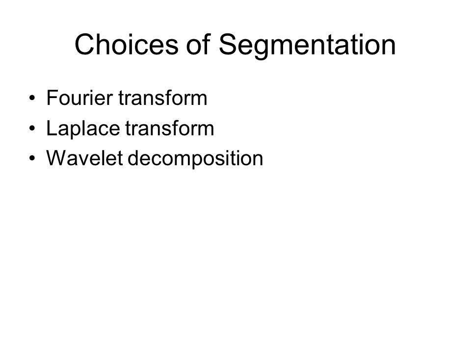 Choices of Segmentation Fourier transform Laplace transform Wavelet decomposition