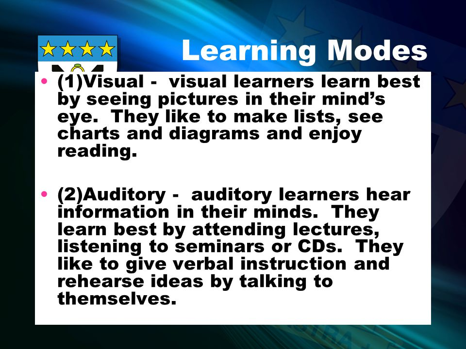 Learning Modes (3)Analytical - analytical learners use logical, hypothetical reasoning to learn new information.