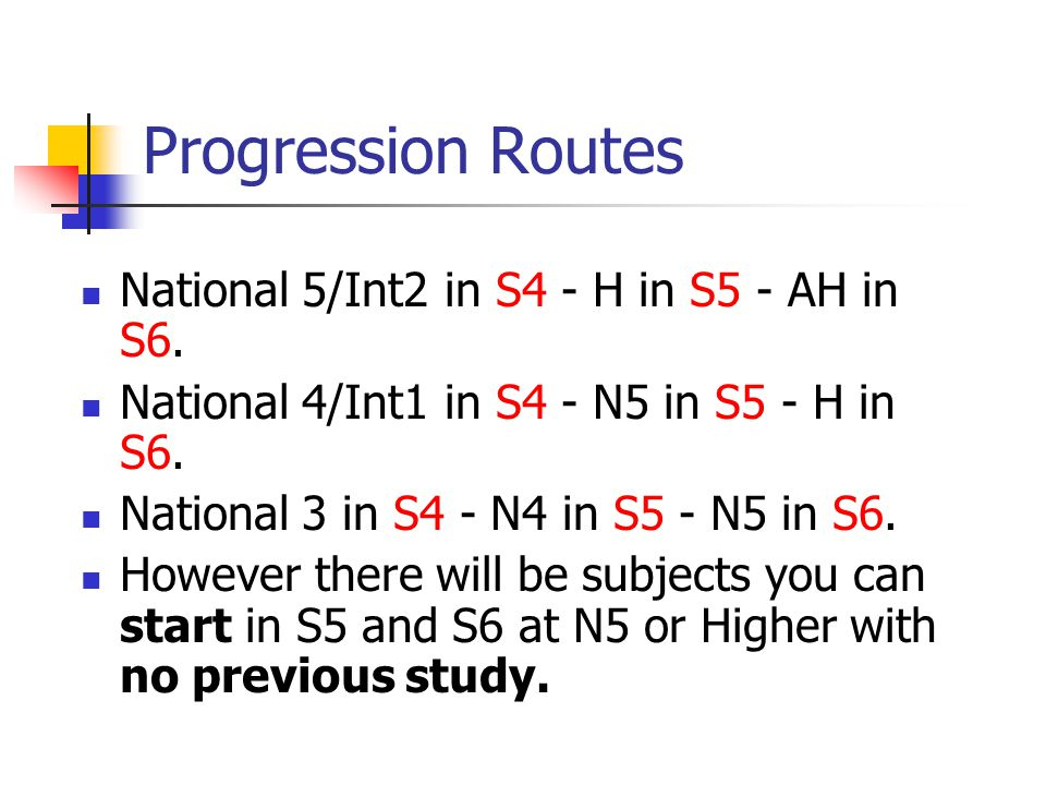 Progression Routes National 5/Int2 in S4 - H in S5 - AH in S6.