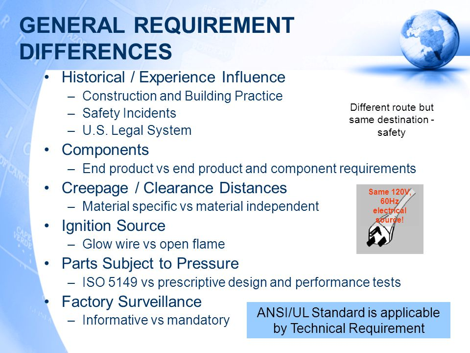 TEST METHOD DIFFERENCES Cord Anchorage –Tugging pull vs static pull force Stability –Details of loading Ground Path Resistance –Calculate from current flow vs prescriptive design and factory production test Moisture Resistance –IP ratings, details of overflow / spill, humidity conditions Enclosure Impact –Impact hammer vs ball impact Ambient –Climatic class Conductor Flexing –Endurance cycles ANSI/UL Standard is applicable by Technical Requirement Different route but same destination - safety