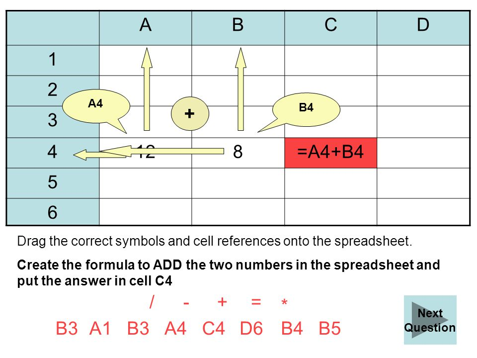 ABCD 1 2 3 4128 5 6 B5B3 D6B4A1 Create the formula to ADD the two numbers in the spreadsheet and put the answer in cell C4 - * / Check Answer