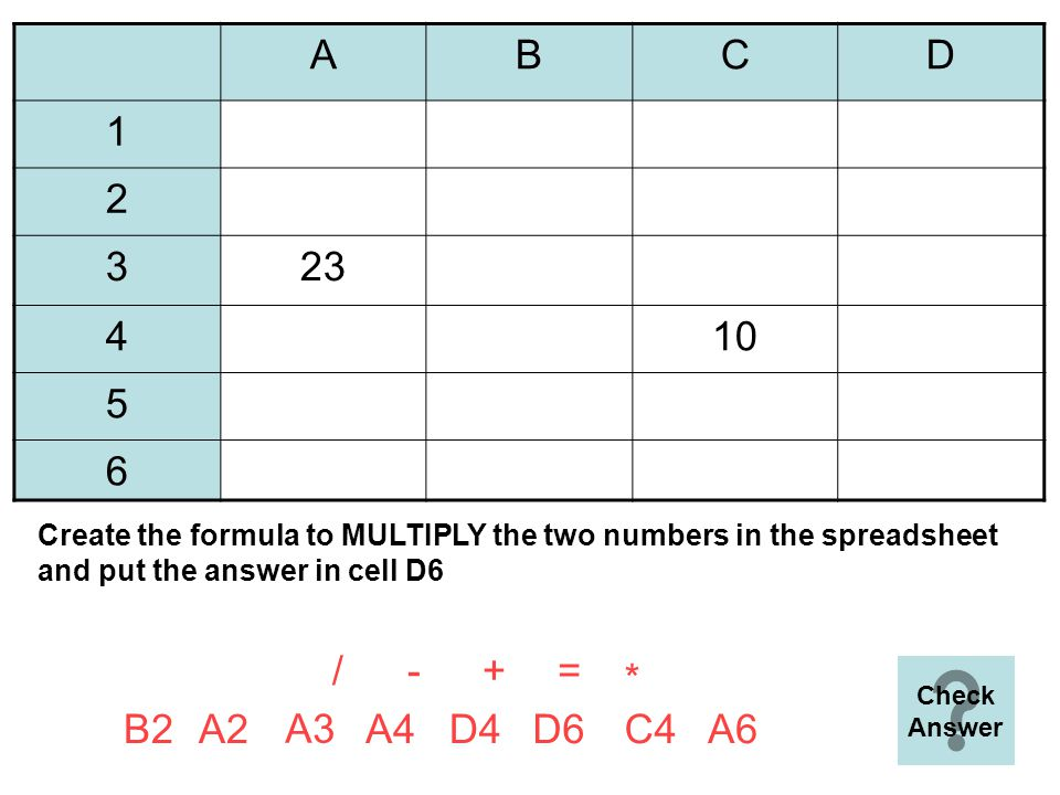 ABCD 1 2100 3 410 5 6=B2-D4 =+ A6B2 D5 D4A4D6B4A2 Create the formula to SUBTRACT the lowest number in the spreadsheet from the higher number and put the answer in cell A6 - * / Next Question B2 D4 -