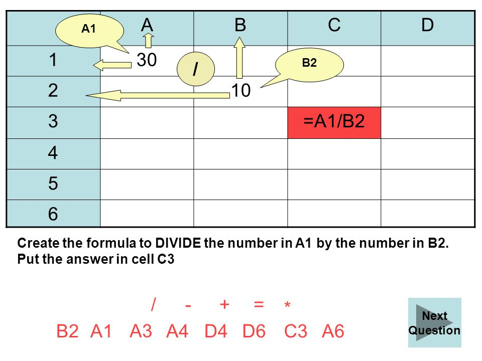 ABCD 130 210 3 4 5 6 =+ A6B2 A3 D4A4D6C3A1 Create the formula to DIVIDE the number in A1 by the number in B2.