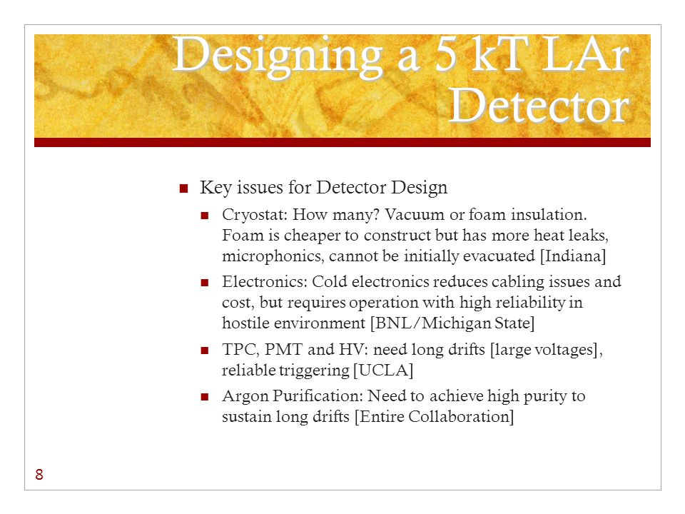 Designing a 5 kT LAr Detector Key Issues for Detector/Lab Interface Dedicated or shared lab Ancillary or integrated space for support systems Bringing cryostat pieces underground and assembling cryostats Bringing the argon underground Facilities for liquid nitrogen, if required Electrical and heat loads Normal and emergency venting Storage of argon if a cryostat needs to be emptied Extensive safety analysis and mitigation design 9