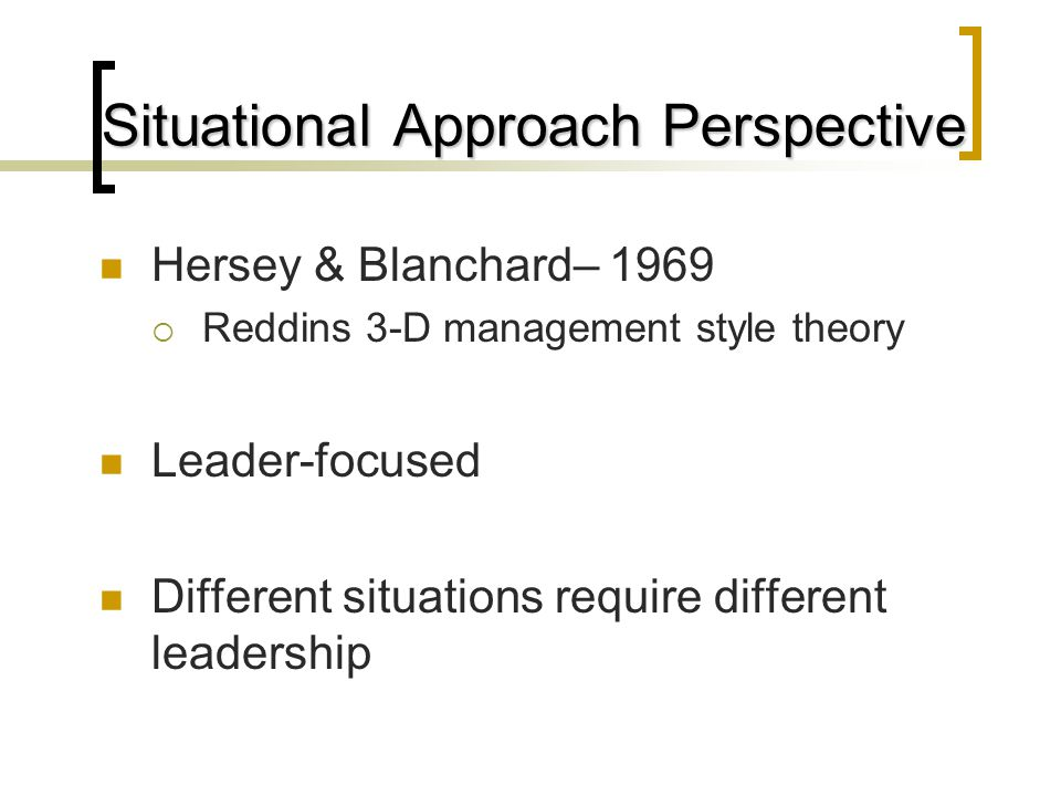 Situational Approach Perspective Hersey & Blanchard– 1969  Reddins 3-D management style theory Leader-focused Different situations require different leadership