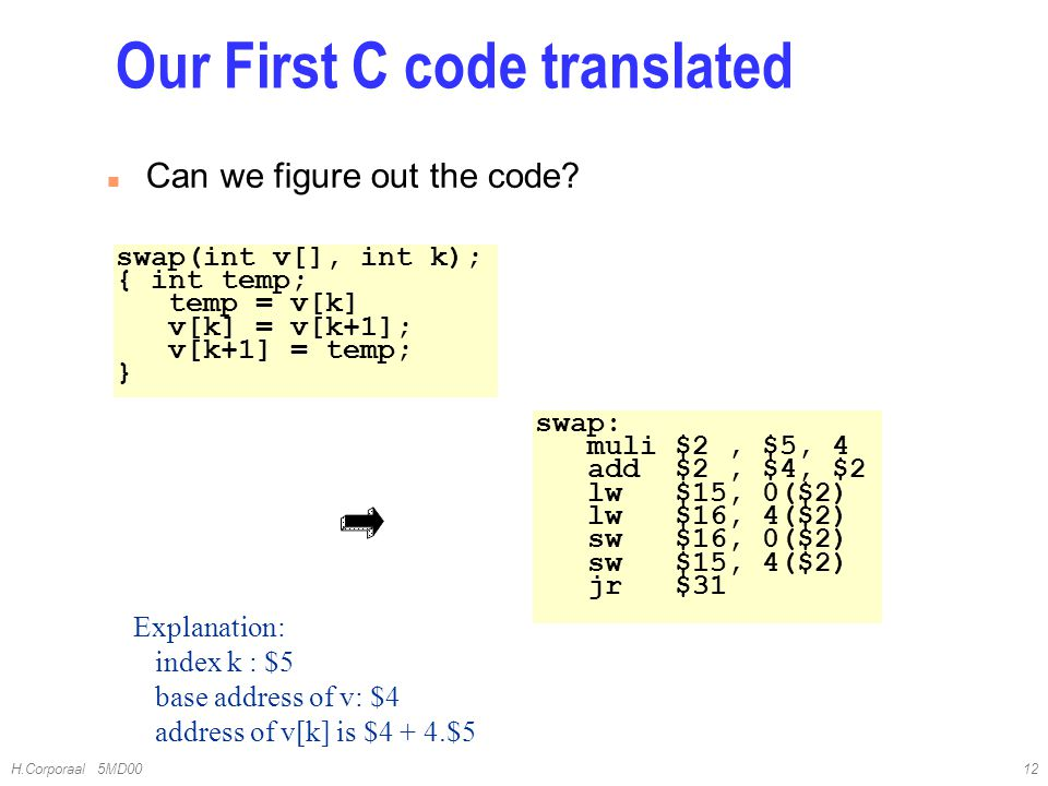 H.Corporaal 5MD0012 Our First C code translated n Can we figure out the code? swap(int v[], int k); { int temp; temp = v[k] v[k] = v[k+1]; v[k+1] = te