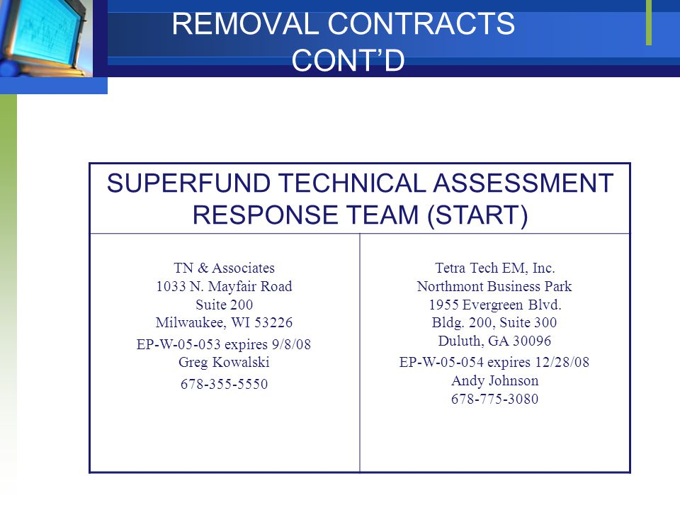 REMOVAL CONTRACTS CONT'D SUPERFUND TECHNICAL ASSESSMENT RESPONSE TEAM (START) TN & Associates 1033 N. Mayfair Road Suite 200 Milwaukee, WI 53226 EP-W-