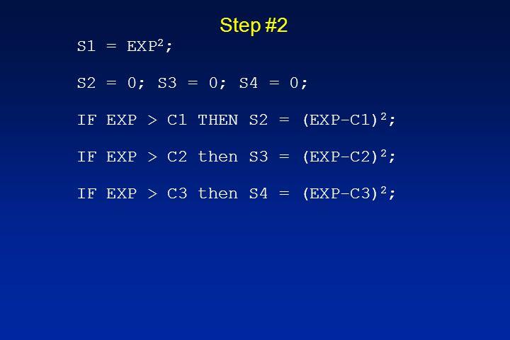 Step #2 S1 = EXP 2 ; S2 = 0; S3 = 0; S4 = 0; IF EXP > C1 THEN S2 = (EXP-C1) 2 ; IF EXP > C2 then S3 = (EXP-C2) 2 ; IF EXP > C3 then S4 = (EXP-C3) 2 ;