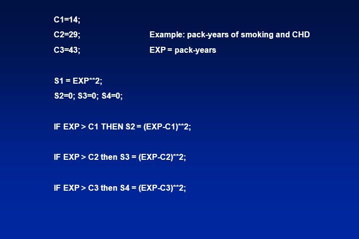 C1=14; C2=29;Example: pack-years of smoking and CHD C3=43;EXP = pack-years S1 = EXP**2; S2=0; S3=0; S4=0; IF EXP > C1 THEN S2 = (EXP-C1)**2; IF EXP > C2 then S3 = (EXP-C2)**2; IF EXP > C3 then S4 = (EXP-C3)**2;