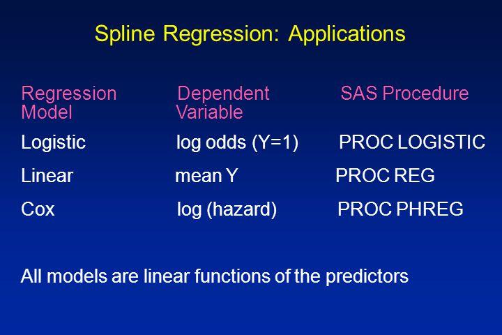 Spline Regression: Applications Regression Dependent SAS Procedure Model Variable Logistic log odds (Y=1) PROC LOGISTIC Linear mean Y PROC REG Cox log (hazard) PROC PHREG All models are linear functions of the predictors