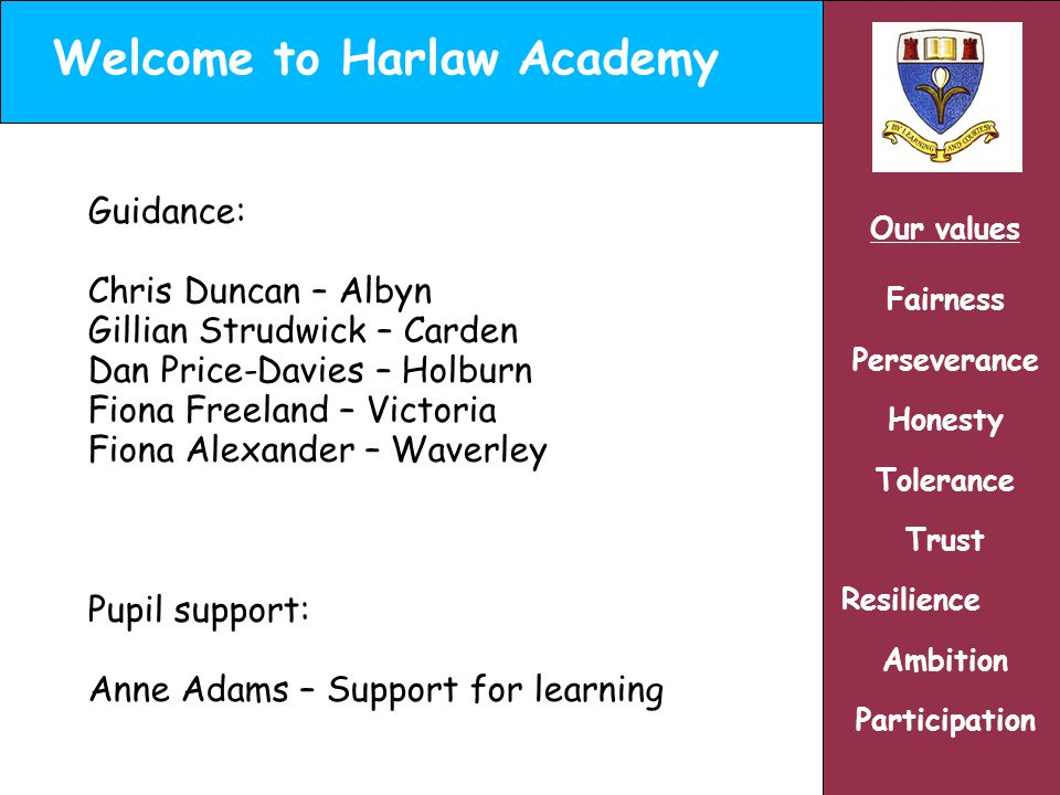 Welcome to Harlaw Academy Our values Fairness Perseverance Honesty Tolerance Trust Resilience Ambition Participation Guidance: Chris Duncan – Albyn Gillian Strudwick – Carden Dan Price-Davies – Holburn Fiona Freeland – Victoria Fiona Alexander – Waverley Pupil support: Anne Adams – Support for learning