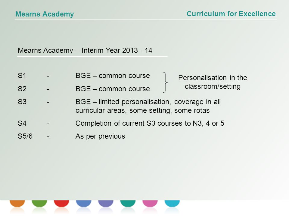 Curriculum for Excellence Mearns Academy Mearns Academy – Interim Year 2013 - 14 S1-BGE – common course S2-BGE – common course S3 - BGE – limited personalisation, coverage in all curricular areas, some setting, some rotas S4-Completion of current S3 courses to N3, 4 or 5 S5/6-As per previous Personalisation in the classroom/setting
