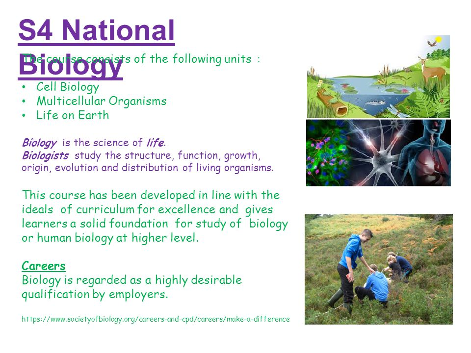 S4 National Biology The course consists of the following units: Cell Biology Multicellular Organisms Life on Earth Biology is the science of life.